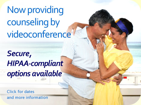 Now providing counseling by videoconference. Secure, HIPAA-compliance options available. Click for dates and more information.